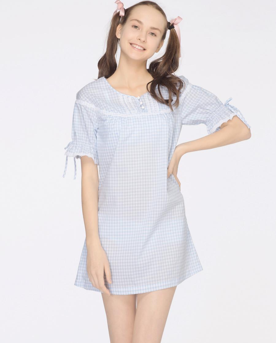 imi's睡衣|爱美丽Teen-格子兔圆领套头短袖睡裙IM44AKV1