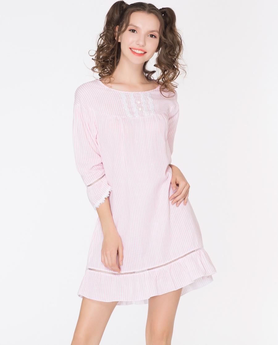 imi's睡衣 爱美丽家居时尚条纹双层棉纱布圆领套头七分袖睡裙IM44ALF1
