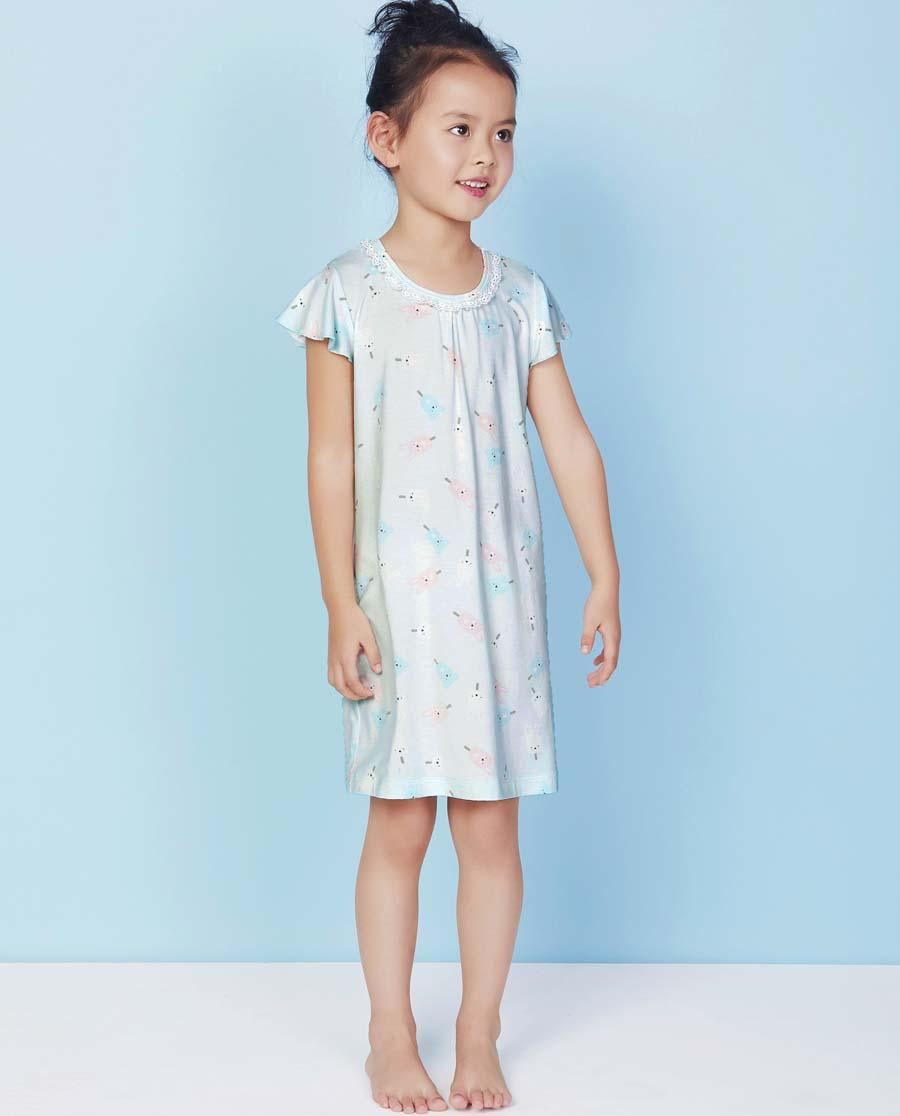 Aimer Kids睡衣|爱慕儿童甜蜜雪糕短袖中款睡裙AK144V72