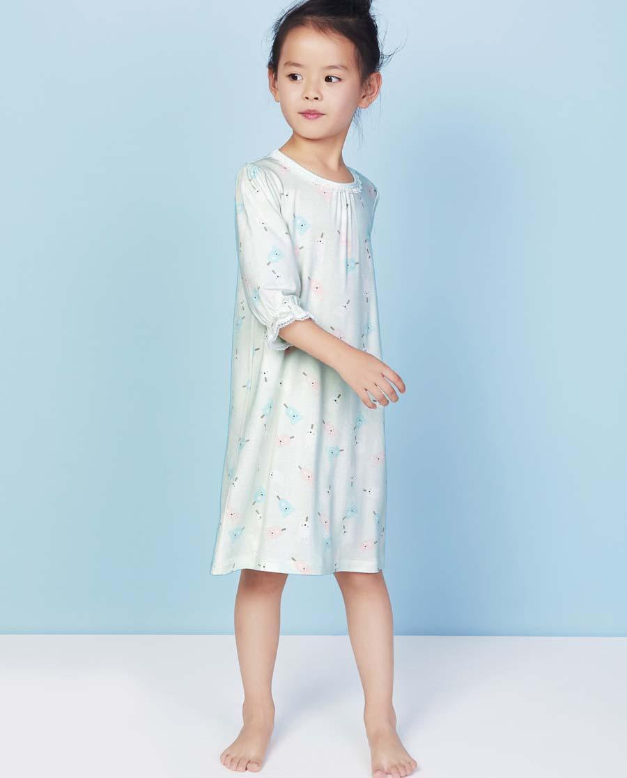 Aimer Kids睡衣|爱慕儿童甜蜜雪糕七分袖中款睡裙AK144V71