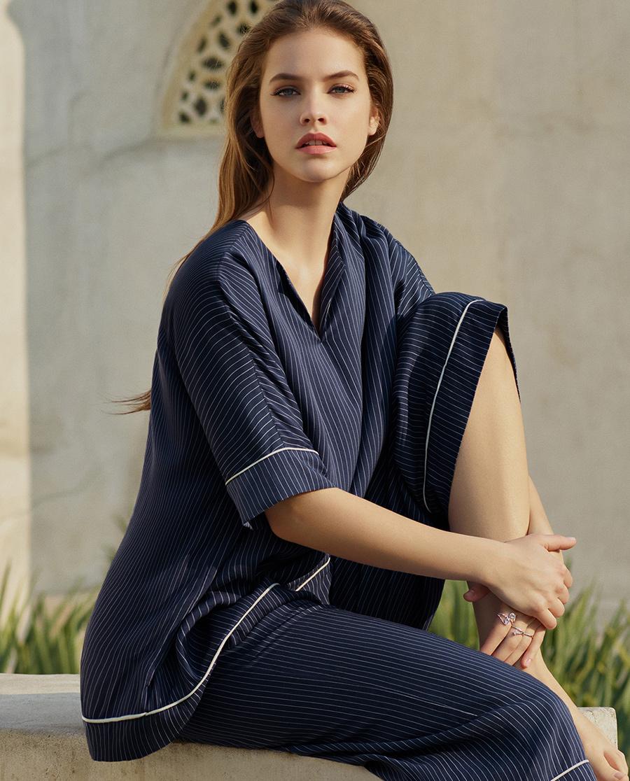 Aimer睡衣|爱慕条纹心情短袖上衣AM451531