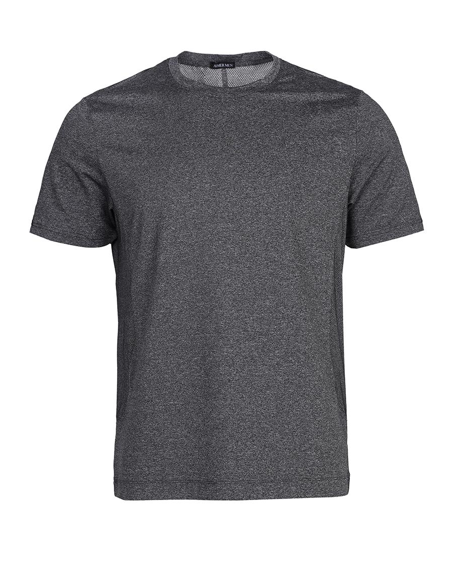Aimer Men运动装|爱慕先生18SS酷黑运动圆领短袖上衣NS