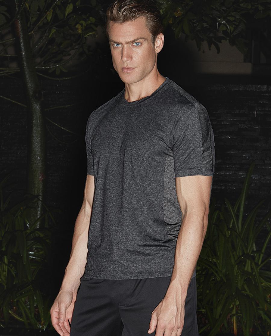 Aimer Men运动装|爱慕先生新品酷黑运动圆领短袖上衣NS62A744