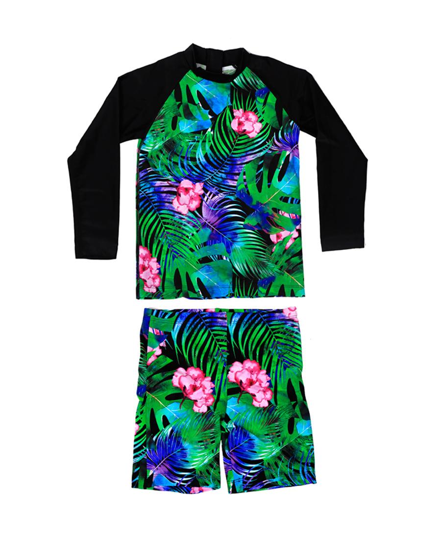 imi's泳衣 爱美丽泳衣幻想丛林女童长袖分身两件套泳衣IM67AMH4