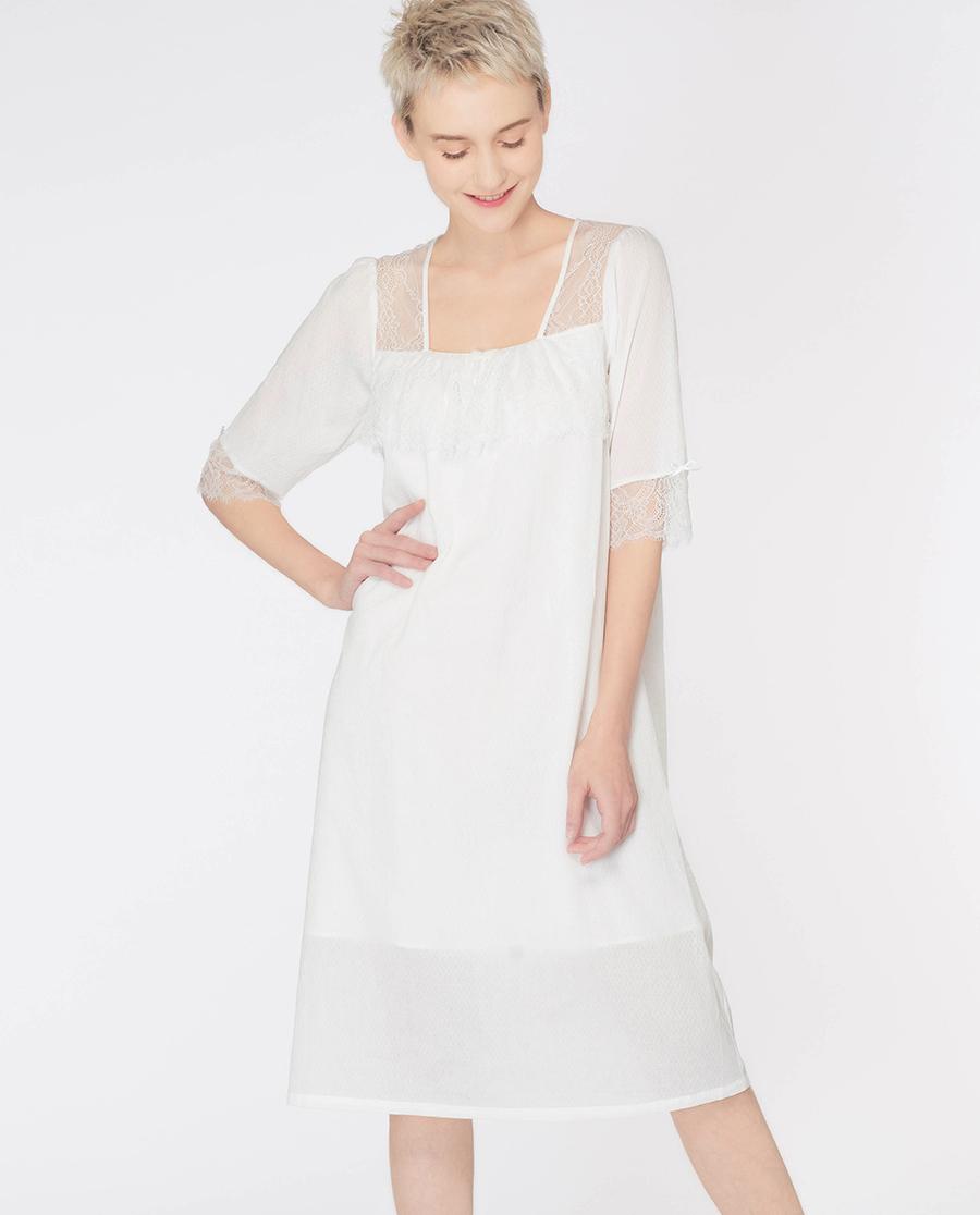 imi's睡衣|爱美丽家居复古宫廷提花薄棉方领套头短袖睡裙IM44ALA1