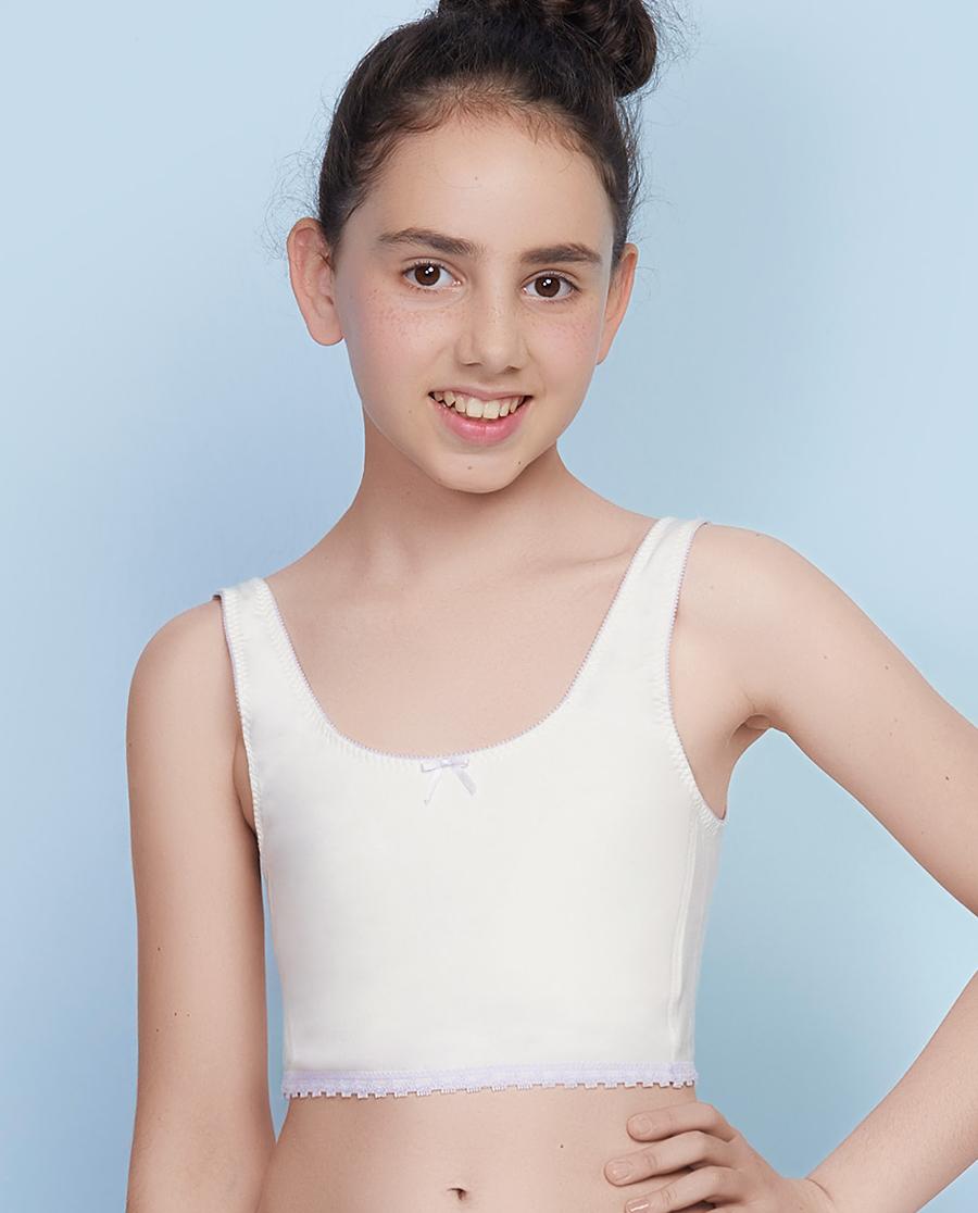 Aimer Kids文胸 爱慕儿童蕾丝奶茶—少女一阶段无托背心式文胸AJ115261