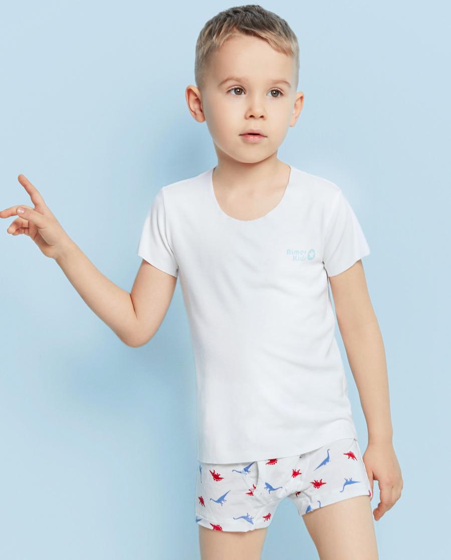 Aimer Kids基础内衣|爱慕儿童FREE-CUT无缝切边男孩舒适短袖AK212801