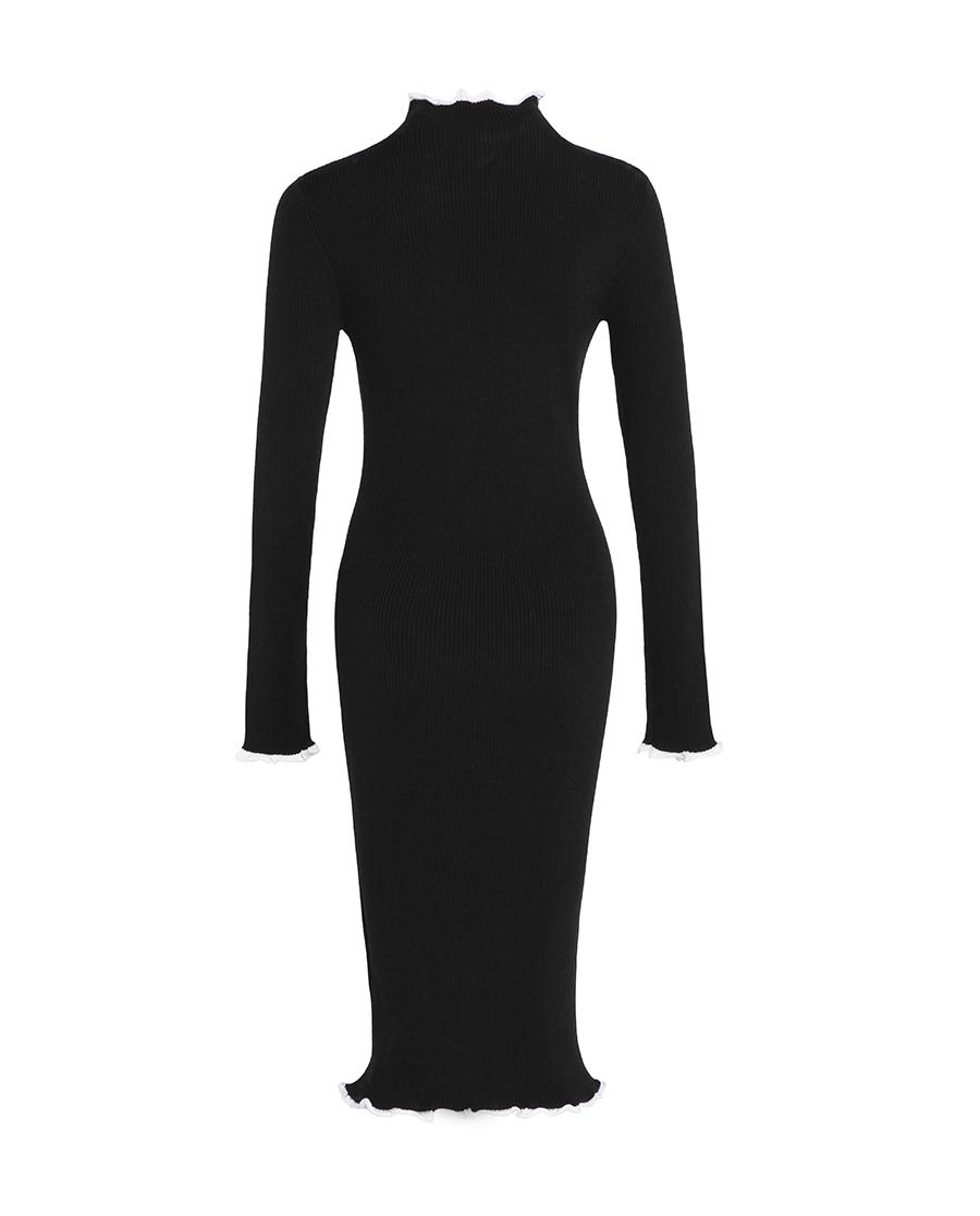 pH15时尚女装|pH15高领立体花边收腰长袖弹力针织中长