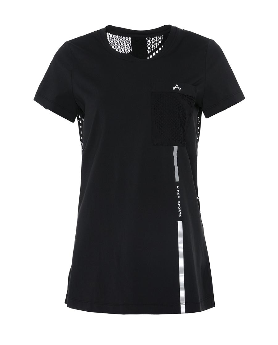 Aimer Sports睡衣|爱慕运动复古派后背镂空长款T恤AS143