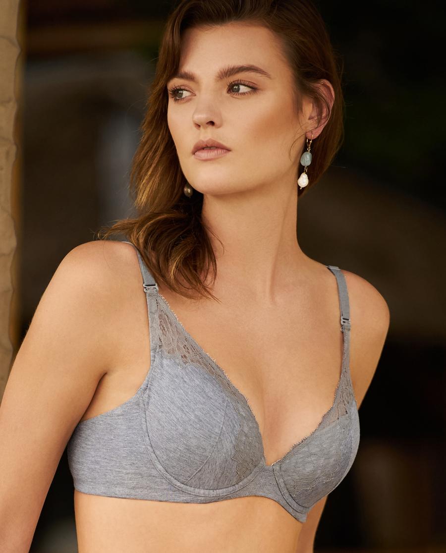 Aimer文胸|爱慕花语棉绵4/4薄无纺布大罩杯文胸AM121501