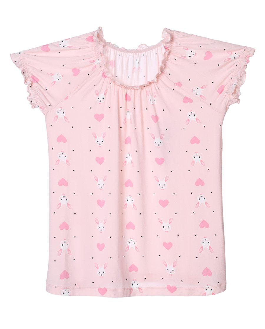 Aimer Kids睡衣|爱慕儿童爱心兔短袖上衣AK141V41