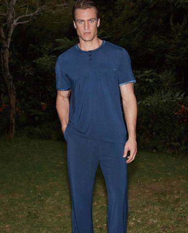 Aimer Men睡衣|爱慕先生新品条纹情怀精英家居长裤NS42A802