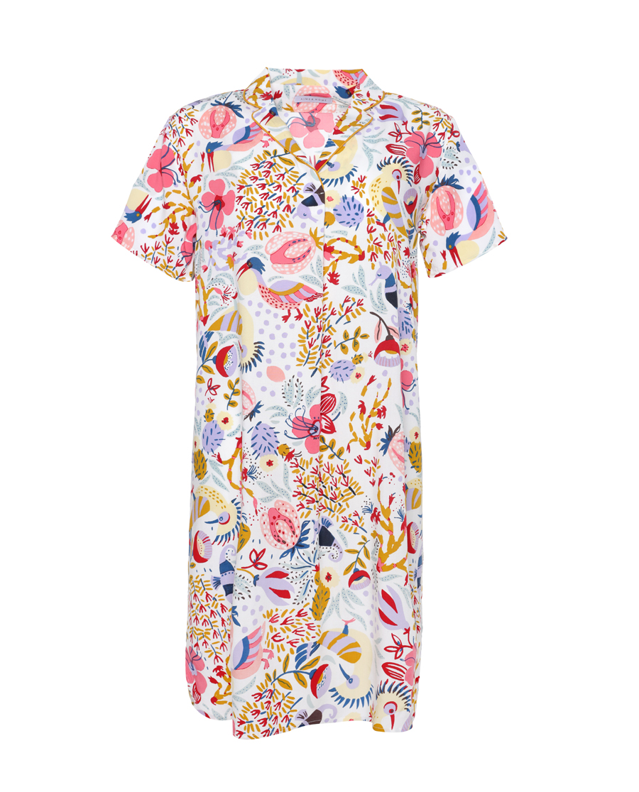 Aimer Home睡衣|爱慕家品海岛花园衬衫式短袖家居裙AH44