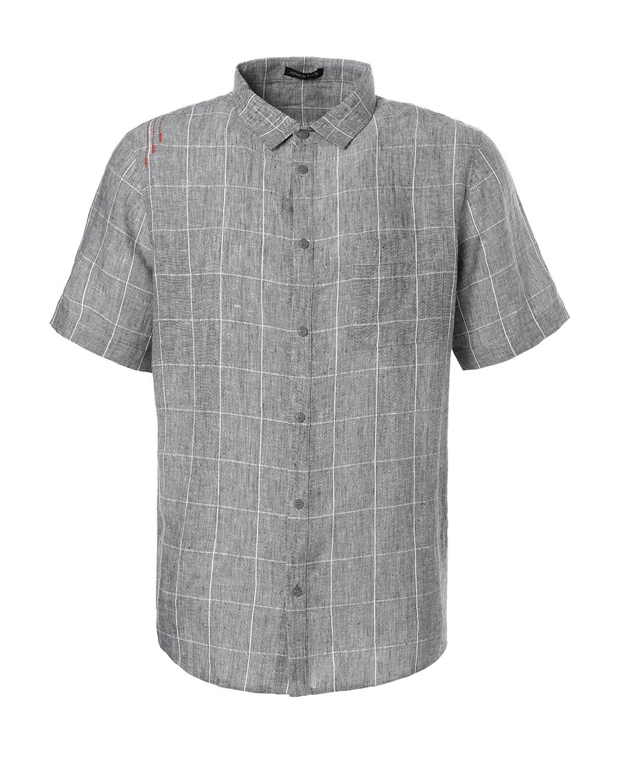 Aimer Men睡衣|爱慕先生亚麻格纹短袖衬衫NS81A951