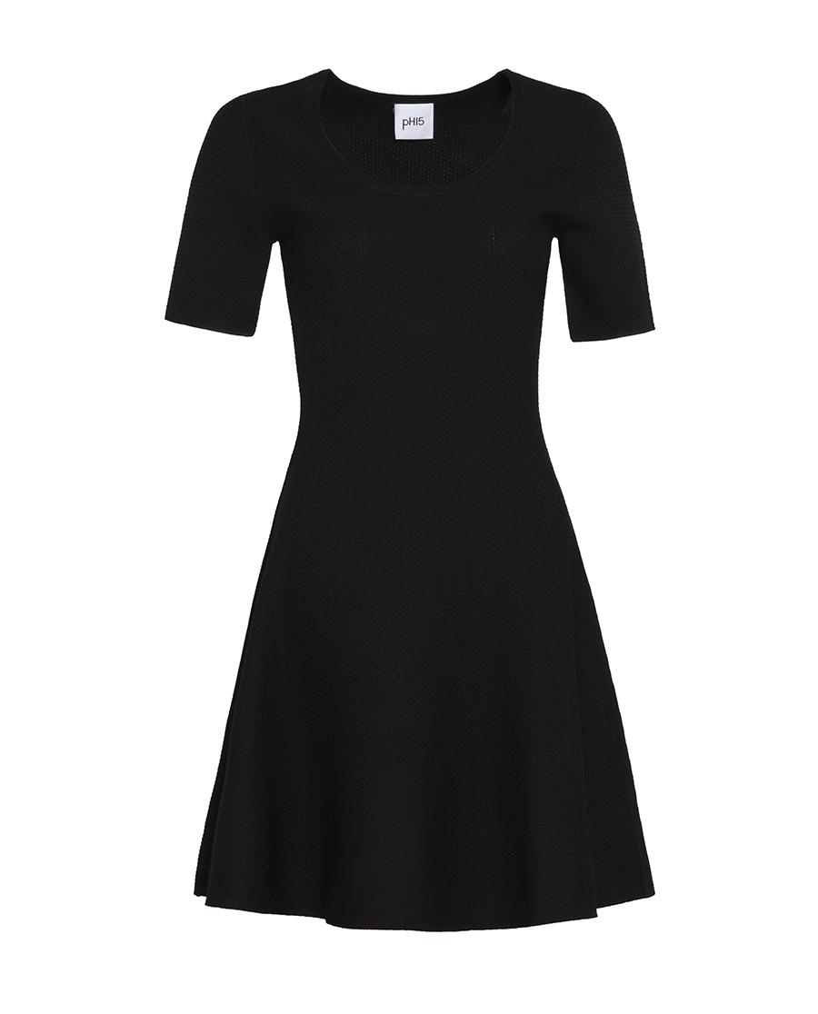 pH15时尚女装|pH15秋冬新品圆领收腰短袖中长A摆针织