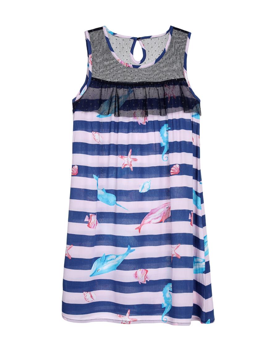Aimer Kids睡衣|爱慕儿童条纹海洋中款家居背心裙AK144