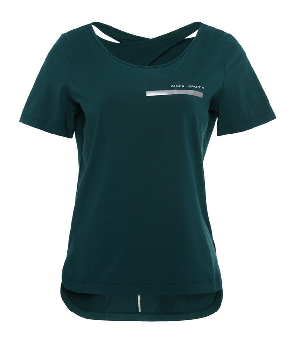 Aimer Sports运动装|爱慕运动Youth 瑜伽后背挖洞短袖T恤AS143D41