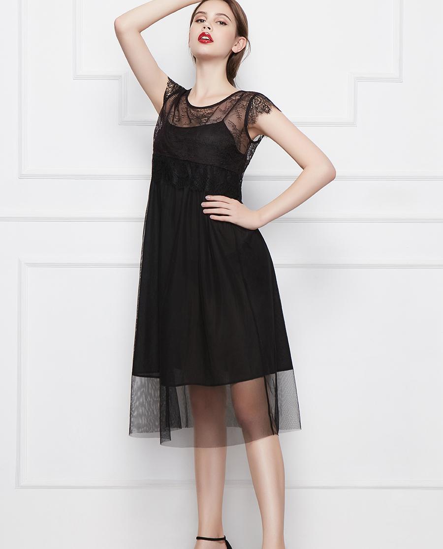 Shine Love睡衣|心爱浪漫小姐短袖中款连衣裙两件套SL46J91