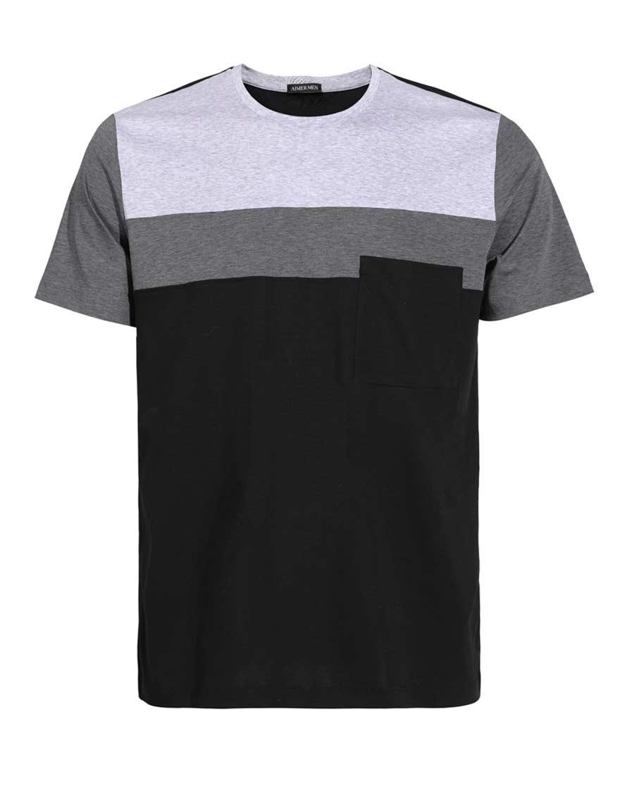 Aimer Men睡衣|爱慕先生惬意时光圆领短袖上衣NS41A8