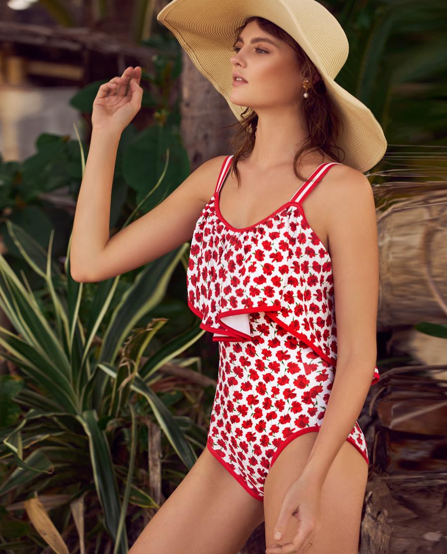 Aimer泳衣|爱慕花语盛夏荷叶边连体泳衣AM681592