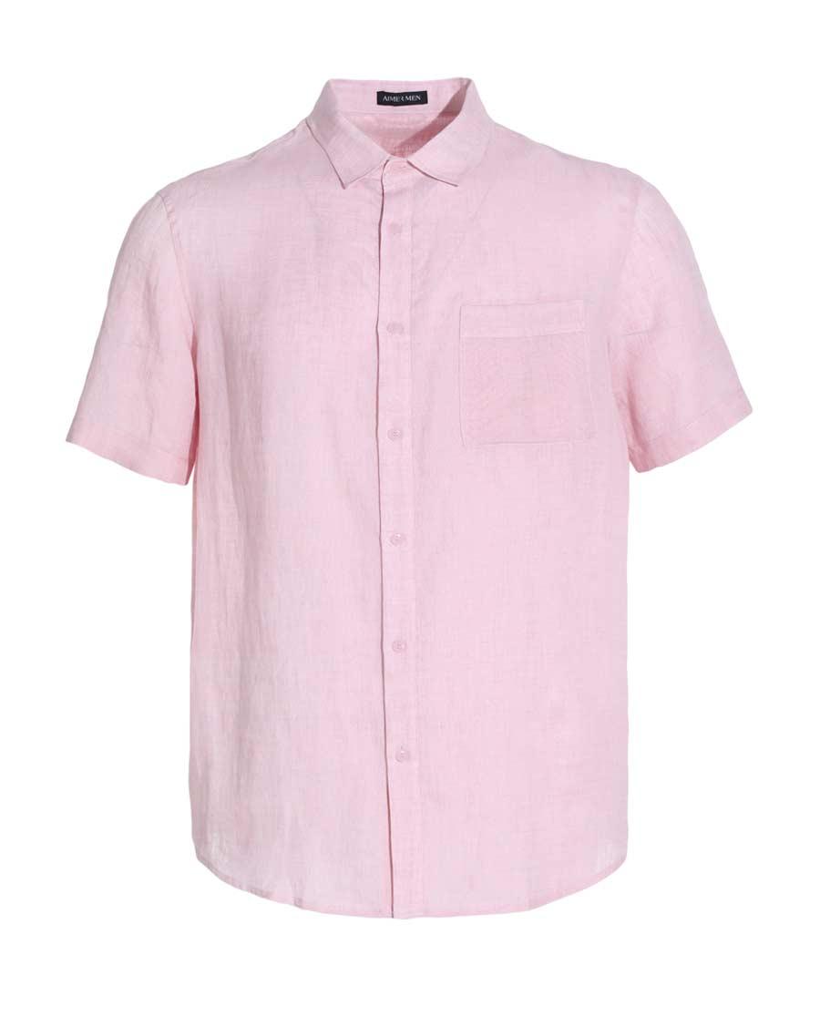 Aimer Men睡衣|爱慕先生新品亚麻翻领短袖上衣NS81A9