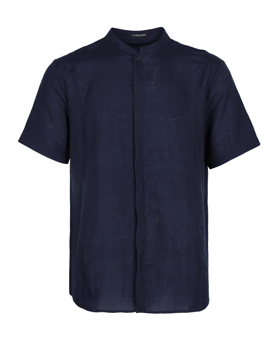 Aimer Men睡衣|爱慕先生新品冰丝亚麻一粒扣短袖上衣NS8