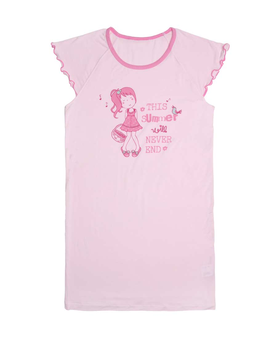 Aimer Kids睡衣|爱慕儿童我爱summer短袖中款家居睡裙