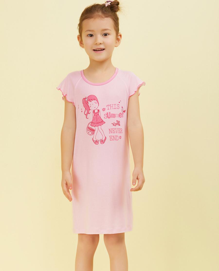 Aimer Kids睡衣|爱慕儿童我爱summer短袖中款家居睡裙AK1440641