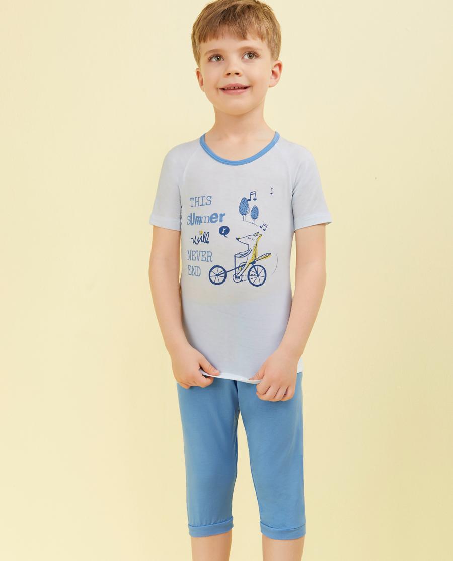 Aimer Kids睡衣|爱慕儿童我爱summer短袖七分裤家居套装AK2430641