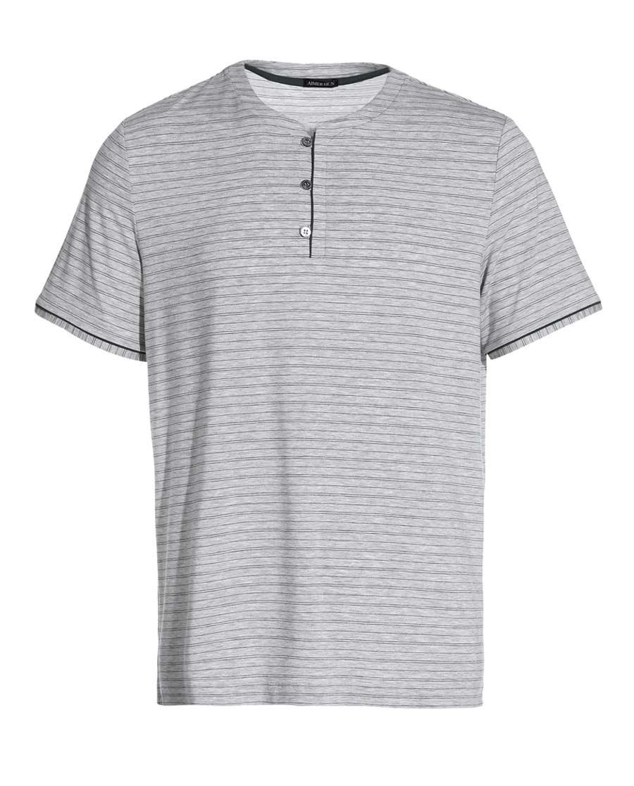 Aimer Men睡衣|爱慕先生新品条纹情怀家居圆领短袖上衣NS