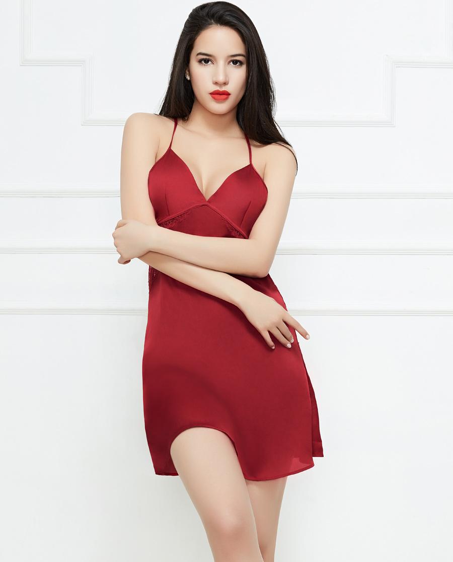 Shine Love睡衣|心爱浪漫丝语美背蕾丝吊裙SL42B41