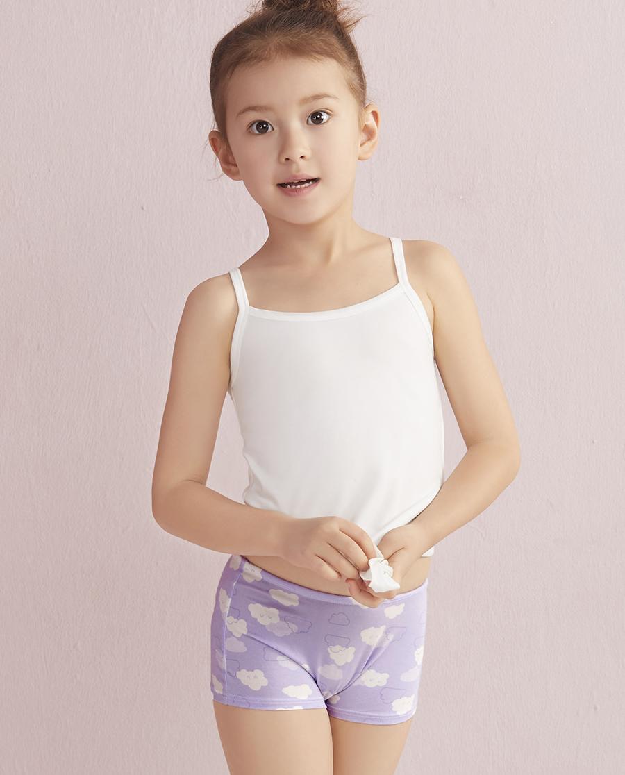 Aimer Kids内裤|ag真人平台儿童天使小裤MODAL印花云朵朵中腰平角内裤AK1230042