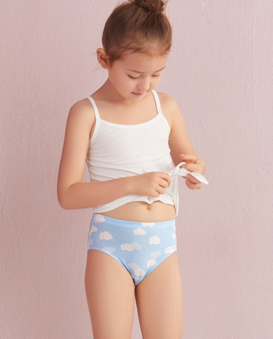 Aimer Kids内裤|爱慕儿童天使小裤MODAL印花云朵朵中腰