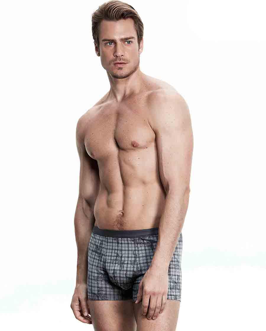 Aimer Men内裤 ag真人平台先生莫代尔印花中腰平角内裤NS23B072