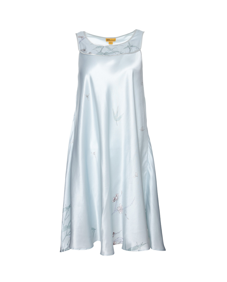 皇锦睡衣|皇锦梅兰竹菊印花吊带连衣裙HJ21163
