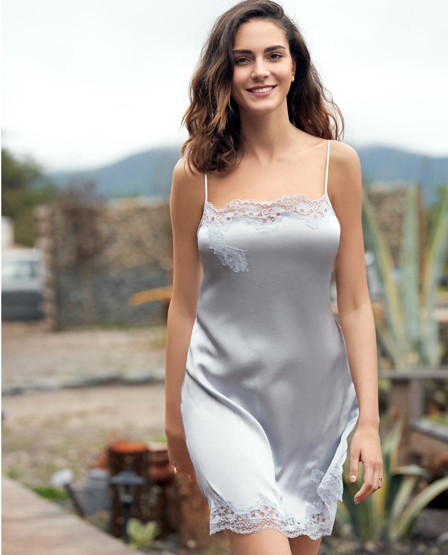 Aimer Home睡衣 爱慕家品花之心享细带短款睡裙AH440311