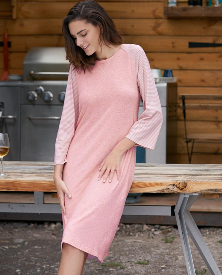 Aimer Home睡衣|爱慕家品条纹心情II圆领长袖中款家居睡裙AH440171