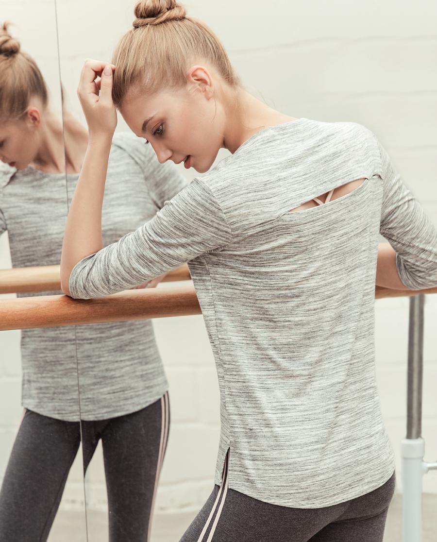 Aimer Sports运动装|ag真人平台运动心灵瑜伽五分袖T恤AS143D91