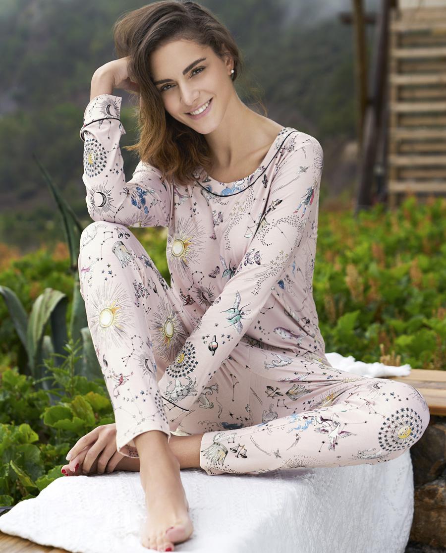 Aimer Home睡衣|ag真人平台家品锦色涟漪长袖长裤家居服套装AH460201