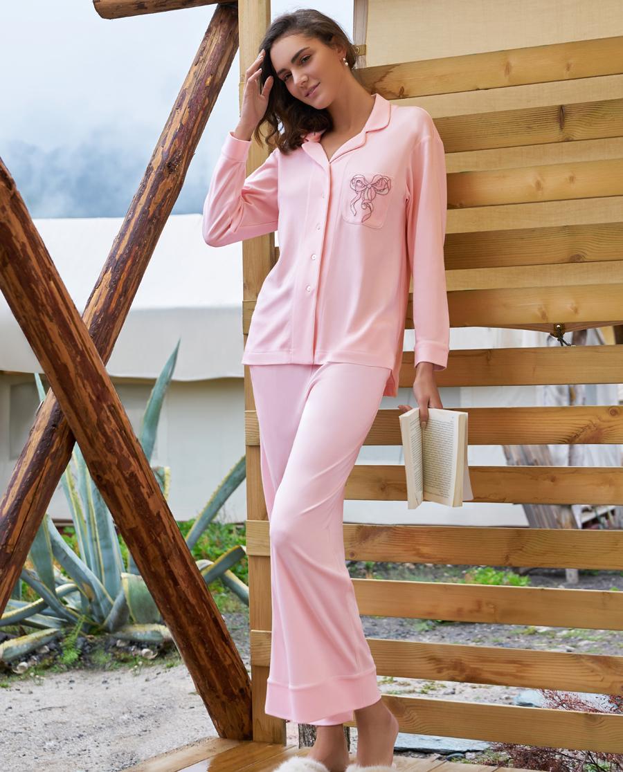 Aimer Home睡衣|爱慕家品蜜糖蝴蝶翻领上衣长裤套装AH460211