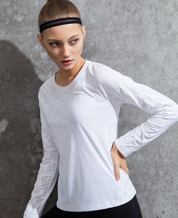 Aimer Sports运动装|爱慕运动都市悦跑拼接长袖上衣AS144D83