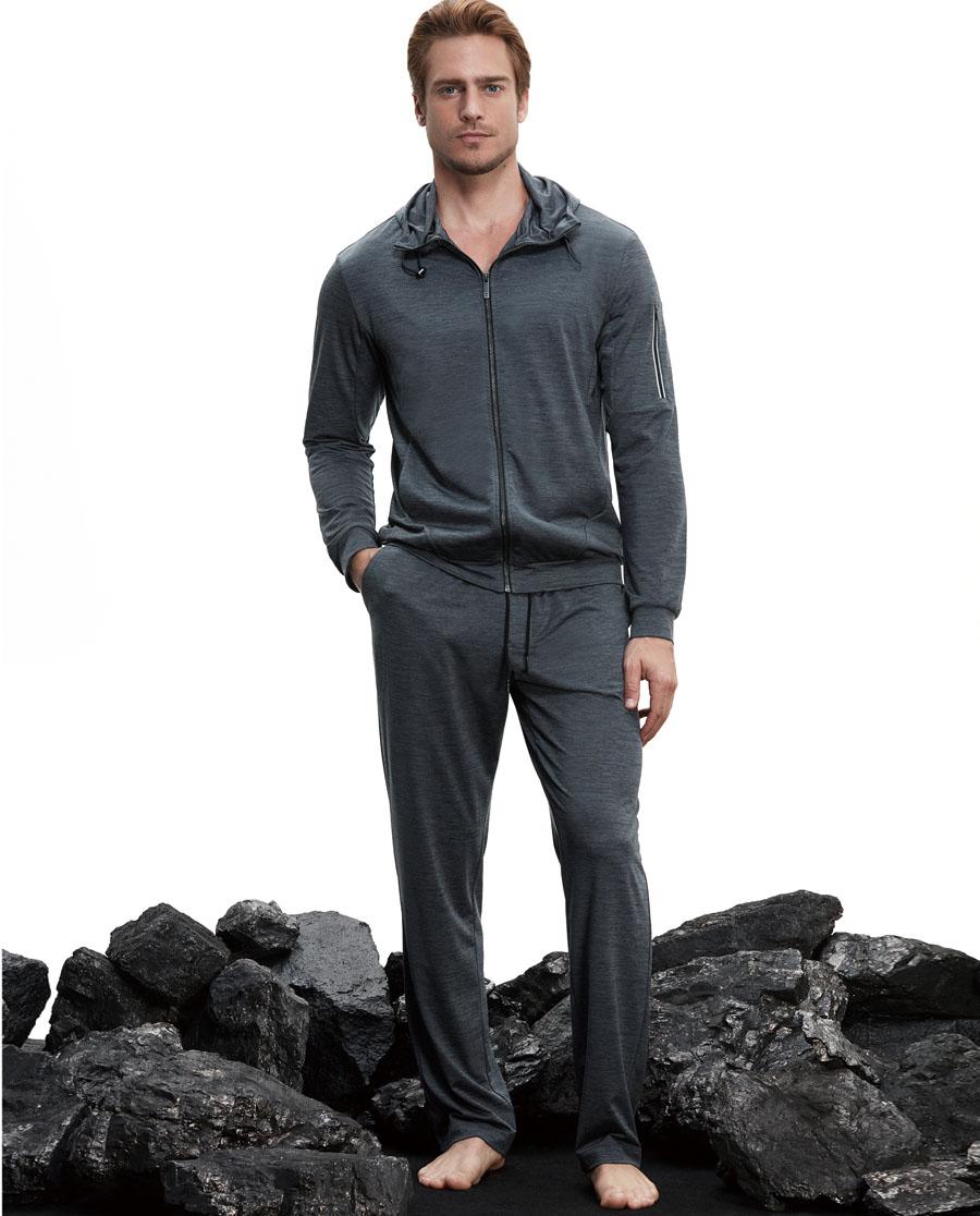 Aimer Men运动装 ag真人平台先生花灰运动微收长裤NS82B371
