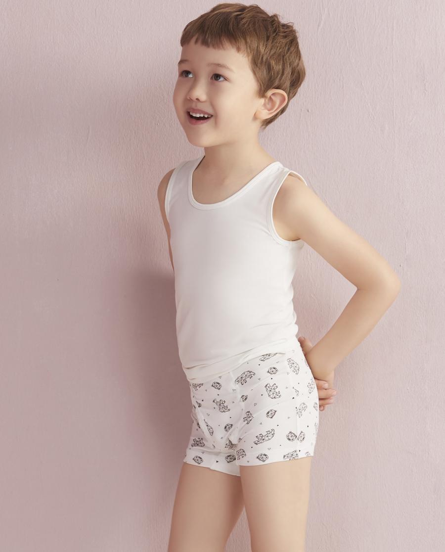 Aimer Kids内裤|爱慕儿童天使小裤MODAL印花几何熊中腰平角内裤AK2230045