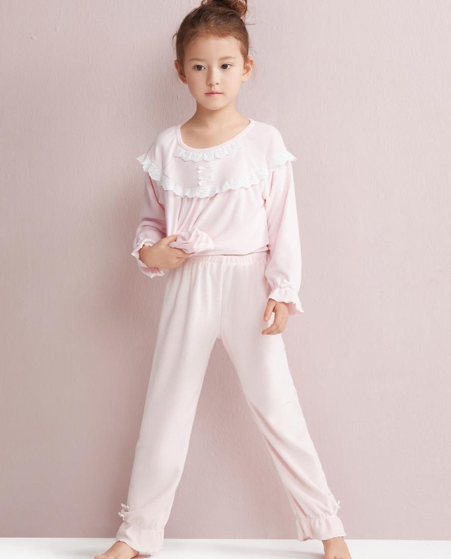 Aimer Kids睡衣 爱慕儿童蕾丝梦境家居长裤AK1420201