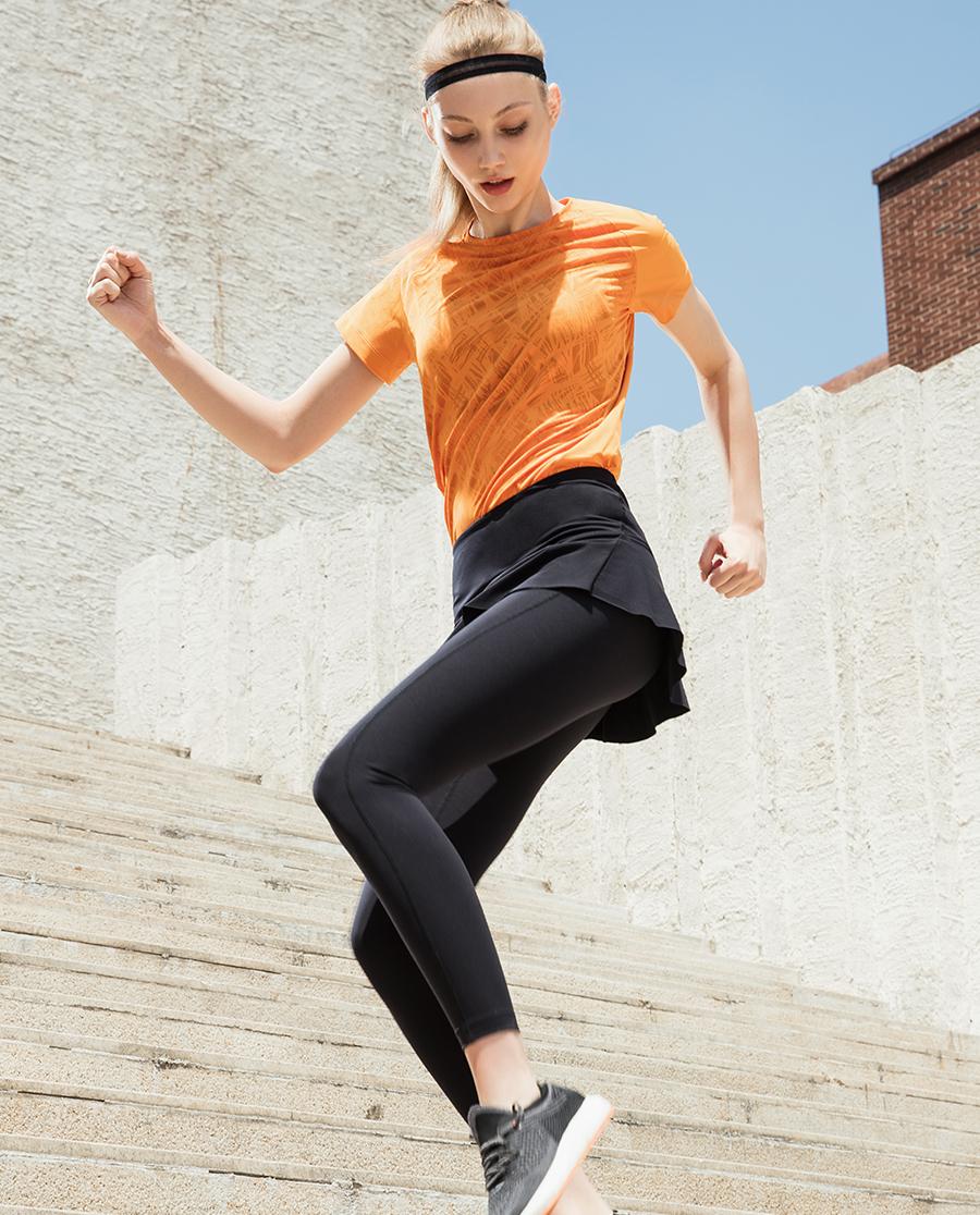 Aimer Sports运动装|ag真人平台运动都市悦跑带裙跑步长裤AS153D81