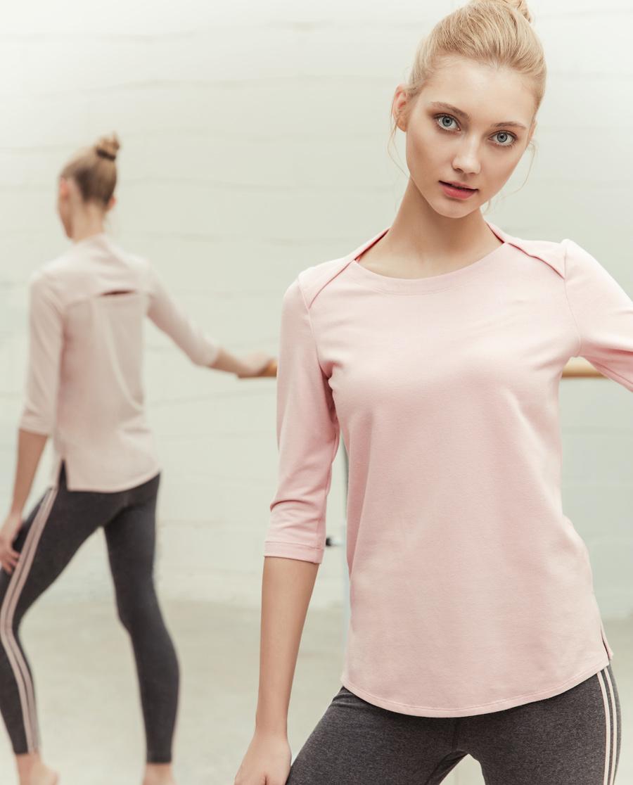 Aimer Sports运动装|ag真人平台运动心灵瑜伽中厚五分袖T恤AS143D93