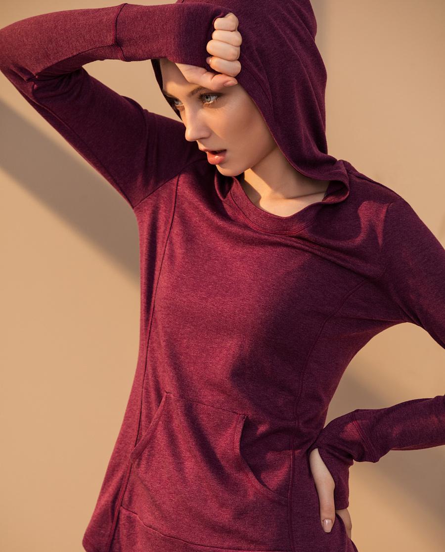 Aimer Sports運動裝|愛慕運動拼色瑜伽帶帽長袖上衣AS144E42