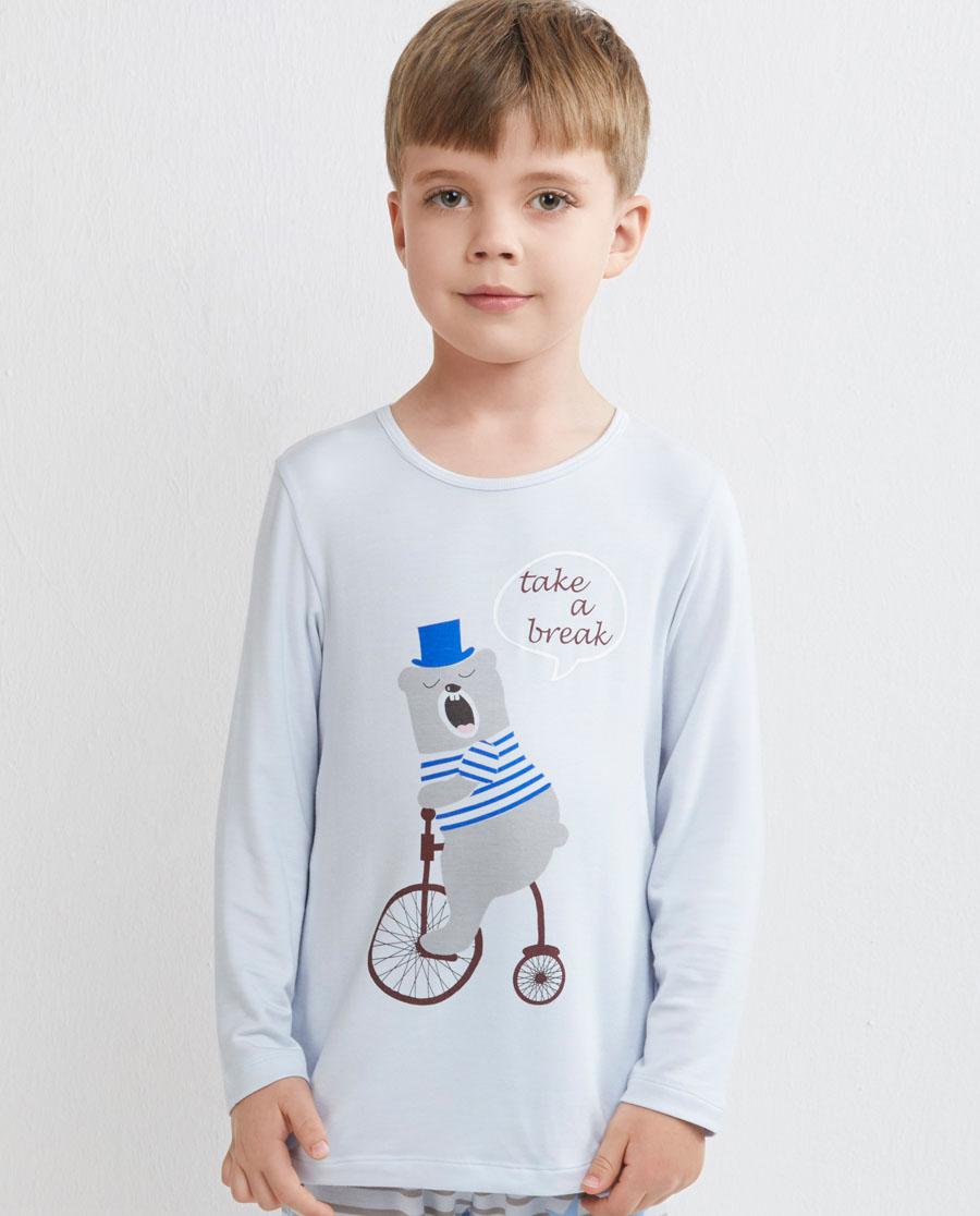 Aimer Kids睡衣 爱慕儿童瞌睡熊套头长袖家居睡衣AK2410021