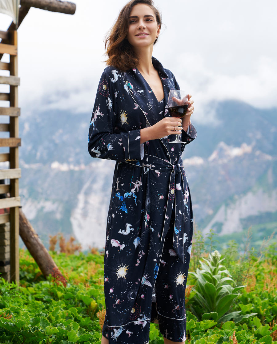 Aimer Home睡衣|愛慕家品錦色漣漪中長家居外披睡袍AH480201