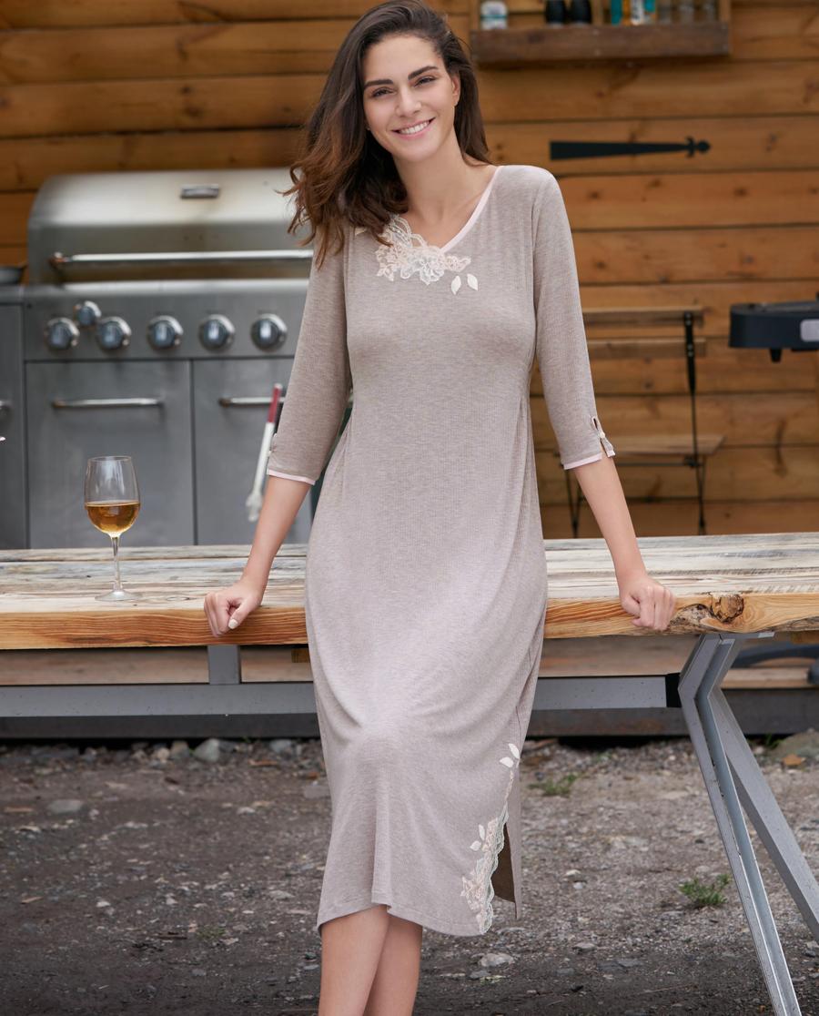 Aimer Home睡衣|愛慕家品葉之柔情V領七分袖中長睡裙AH440241
